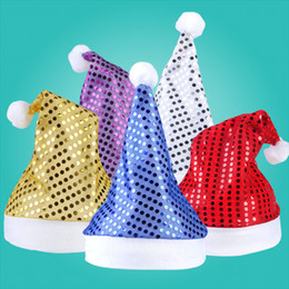 Wholesale Party Lights Indoor - New Sequins Kids Christmas Hat Xmas Adult Solid Party Decor Christmas Caps Christmas Decorations Tableware Holder HH7-228