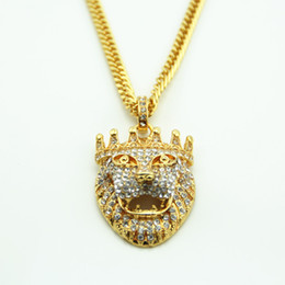 Wholesale Lion Silver Necklace - New Arrivals Hip Hop Gold Plated gold Eyes Lion Head Pendant Men Necklace King Crown Iced Out Fashion Jewelry For Gift Present
