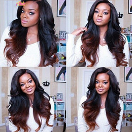 Wholesale Remy Half Wigs - 1B 33# Body Wave Ombre Full Lace Wigs Human Hair Two Tone With Baby Hair Glueless Full Lace Wigs Brazilian For Women