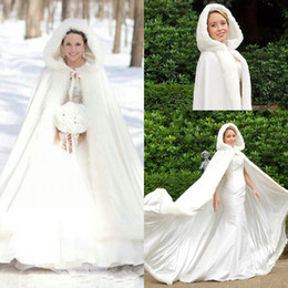 Wholesale White Hooded Wedding Dresses - 2017 Cheap Winter Faux Fur Cloaks Hooded Wedding Wraps White Floor-Length Fur Bridal Overcoats Wedding Dresses White Ivory Warm For Winter