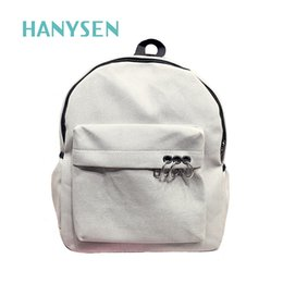 Wholesale Small Canvas Backpacks For Men - 2017 Spring Female Metal Ring Small Backpacks Canvas Travel Bag For Teenage Girl Preppy Style Solid Simple Mini School Bags New