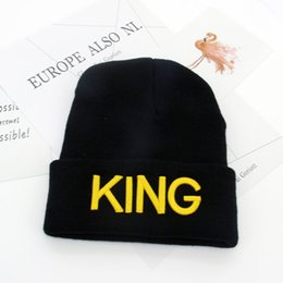 Wholesale Plain Turtleneck - The new KING QUEEN elastic knitted hat embroidery men and women autumn warm winter turtleneck wool hat