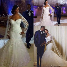 Wholesale Sweetheart Lace Appliqued Wedding - South Africa Long Sleeves Lace Mermaid Wedding Dresses Sheer Appliqued Plus Size Church Bridal Gowns Winter Wedding Gowns 2016