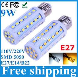 Wholesale E14 44 - 360 degree E27 E14 B22 44 LED 5050 SMD 9W Cold warm White powerful Corn Light Bulb 700LM 230V 220V 110V lamp