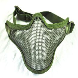 Wholesale Airsoft Half Mask Mesh - Wholesale-CLOS New Olive Green Airsoft War Game Half Face Guard Mesh Mask Protector Protective