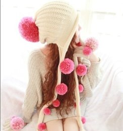 Wholesale Earmuffs For Men - Wholesale-2015 New Japan Style Women Acrylic Hat Winter Cap Tassel Earmuffs Hats Fashion Girl's Accessories Gift For Festival