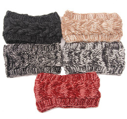 Wholesale Pink Ear Warmer Headband - Fashion Womens Adult Lady Crochet Winter Autumn Knit Headbands Warm Hoop Wide Plait Headbands ear warmer Wool Stretch Hair Bands D706J