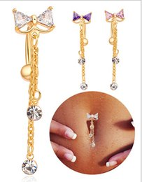 Wholesale Sexy Belly Bars - 2015 New Style SEXY SUMMER JEWELRY bowknot bar belly piercing Bell Button Rings
