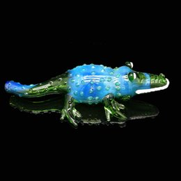 Wholesale Glass Alligator - Hand pipe Alligator shape smoking spoon for dry smoking High Quality with pure handmake bubblers