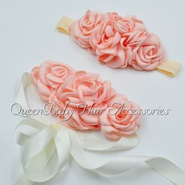 Wholesale Couture Baby Wholesale - Layerd Flower Baby Girl Sash Matching Baby Headband Luxe Sash Couture Headband Wedding Sash Flowergirl Sash