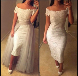 Wholesale Removable Train Prom Dress - White Short Lace Prom Dresses 2016 Sexy Off The Shoulder Short Sleeves Sheath Tea Length Plus Size Backless Party Dresses Removable Train