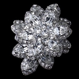 """Wholesale Diamante Flower Pins - 2"""" Silver Tone Clear Marquise Crystal Diamante Double Layer Flower Brooch Pins"""