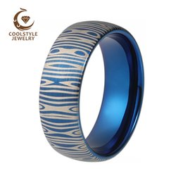 Wholesale Laser Tungsten -  8mm Damascus Steel Pattern Laser Engraved Fashion Tungsten Carbide Blue Ring For Men Women Domed and Brushed finish