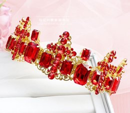 Wholesale King Crowns Tiaras - Red white bridal accessories baroque king queen's crown