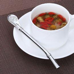 Wholesale Tea Coffe - 16cm Yerba Mate Straws Stainless steel Metal Filter Coffe Tea Drinking Straw Bar Kitchen Restaurant Accessories