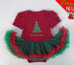 Wholesale Infant Orange Summer Dresses - Lovely Cute Baby Girls Christmas Clothes Summer Cartoon Short Sleeve Bodysuits Newborn Baby Girls Romper Infants Lace Dresses Clothes J2058