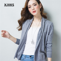Wholesale Womens White Sweater Coat - Wholesale- Spring New Womens 2017 Loose Sweater Cardigan Sweater Female Thin Coat Summer Solid Color Open Stitch Cardigans 8711