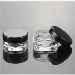 Wholesale Small Cream Jars Wholesale - Free shipping 3g small square sample cream plastic bottle jar pot container black lid for cosmetic packaging 3ml 100pc lot