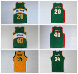Wholesale Ray Orange - Men's #40 Shawn Kemp #34 Ray Allen #20 Gary Payton Jersey Throwback 100% Embroidery Stitched Kemp Allen Payton Basketball Jerseys College