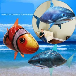 Wholesale Kit Fly Rc - DHL IR RC Air Swimmer Shark Clownfish Flying Air Swimmers Inflatable Assembly Swimming Clown Fish Remote Control Blimp Balloon Toys for Kids