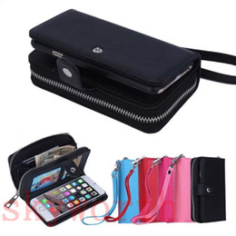 Wholesale Flip Pouches - Flip Leather Wallet Case Photo Card Slot Pouch For iPhone X 8 7 6S Plus Samsung Galaxy Note 8 S8 Plus S7 edge