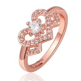 Wholesale Heart Shaped White Gold Ring - White Cubic Zirconia Heart Shape Wedding Ring Rose Gold Plated Gorgeous Jewelry Beautiful Eternity Band Ring Size 6 7 8 18KRGPR698-A