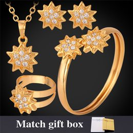 Wholesale African Costume Jewelry Sets - New 18K Gold Plated Rhinestone Stars Costume Jewelry Sets Necklace Earrings Cuff Bangle Ring Jewellery Gift For Women MGC N1199