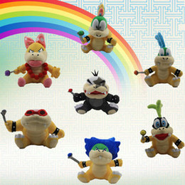 "Wholesale Super Mario Plush Sanei - Free shipping Super Mario plush dolls toys Wendy Larry Lemmy Ludwing O. Koopa Plush Sanei 8"" Stuffed Figure Super Mario Game Koopalings Doll"