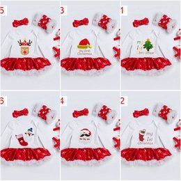 Wholesale Skirt Legging Girl Suit - Baby Christmas suit Clothing Set 6 colors long sleeve dress leg warm headband new santa print high quality cotton 0-2 year infant baby skirt