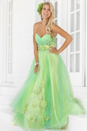 Wholesale Sweetheart Appliques Beaded Ruched - Sweetheart Neck Green Prom Dresses 2015 Sweep Train Beaded Applique Hand Made Flower Ruched Sleeveless Tulle Custom Made Backless Dresses