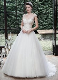 Wholesale lace top classic wedding dress - Top Brand 2015 New Collection V-neck Beaded Short Sleeve Backless Sweep Train Bridal Wedding Gown Classic Satin Ball Gown Wedding Dresses