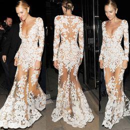 Wholesale Prom Maxi - Zuhair Murad Dresses Long Sleeve Evening Dresses Mermaid Deep V Neck Illusion Sleeve Floor Length Tulle Applique Lace Dresses Prom Dresses