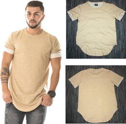Wholesale Tyga Shirts - Wholesale Arc bottom tshirt homme mens t shirts hip hop swag t shirt streetwear brand-clothing apricot MEN solid t-shirt hiphop tyga kanye