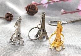 Wholesale Paris Souvenirs - Fashion Classic French France Souvenir Paris 3D Eiffel Tower Model Keychain Retro Mini Metal Paris Keyring Gift