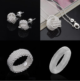 Wholesale Necklace Bracelet Jewlery Sets - Silver Jewelry Sets Hot Sale Earrings Necklaces Bracelets Bangles Rings Set for Women Girl Party Gift Fashion Jewlery Wholesale 001YDHT