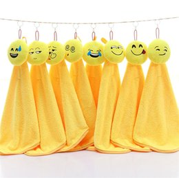 Wholesale Dishcloths Kitchen Towels - 30*30cm Emoji Hanging Towel Dishcloths Super Absorbent Coral Velvet Household Hand Towel Bathroom Kitchen Cleaning Towel IC882