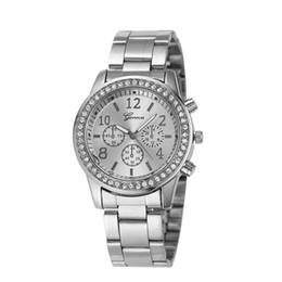 Wholesale Girls Watch Sets - 2017 Newest Set auger ladies watches Women Luxury New Geneva Ladies Quartz Gifts For Girl Full Stainless Steel Rhinestone wrist watches