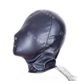 Wholesale Nose Bondage - Adult products Kinky Fetish Sex Bondage Total Enclosure Hood Soft Leather Sensory Deprivation Mask with Nose Vent