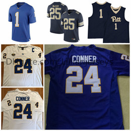 Wholesale Lewis Black - Pittsburgh Panthers Pitt College Football #25 LeSean McCoy 1 Larry Fitzgerald 28 Dion Lewis 24 James Conner Sew Navy Gold White Blue Jerseys