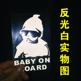 Wholesale Cool Motorcycle Stickers Decals - 10PCS Small Size Car Sticker Cool Baby on Board Car Styling Motorcycle Sticker Vinyl Decal Reflective Personalized Waterproof