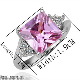 Wholesale Pink Kunzite Rings - Trendy Pink Kunzite Cubic Zirconia Platinum plated finger ring size#6 7 8 ,Top quality crystal ring,nice gift,promotion items,
