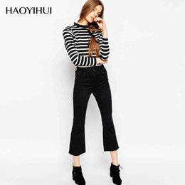 Wholesale Women S Fitted Cargo Pants - HAOYIHUI 2016 New Arrivals Black Pleated Fitted Calf-Length Flare Pants Fashion for women