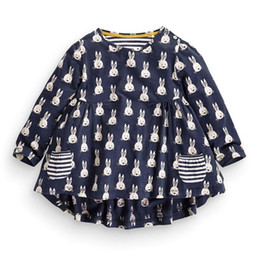 Wholesale Rabbit Print Dress - Girl INS Fashion Princess Little rabbit dot stripe Dress 2016 new Children Cartoon Print Long sleeve Dress Children Clothing B001