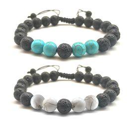 Wholesale Rock Wristbands - 8MM Lava-rock Round Bead Bracelets Wihte & Blue Turquoise Natural Stone Charm Bracelet Men Women Lover Braid Wristband Adjustabl Yogo Jewelr
