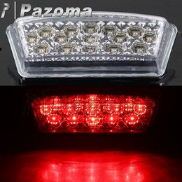 Wholesale Taillights For Motorcycles - Pazoma Motorcycle Red LED Tail Lght ABS Clear Brake Taillights Running License Plate Rear Lamps Fit For YBR 125 2002-2013