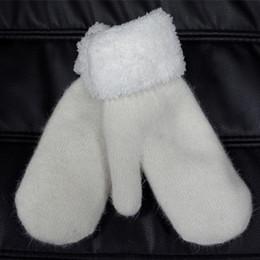 Wholesale Wool Fur Fingerless Long Gloves - Wholesale-100% Wool Gloves 2015 Winter Ultra Thick Warm Outdoor Fashion Mittens For Women Mens Long White Glove Fur Mitten Yj#003