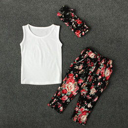 Wholesale Sleeveless T Shirts For Babies - Girls fashion Flower printing 3pc sets Flower Headband black Sleeveless T shirt Flower pants baby infants summer outfits sets for 2-8T