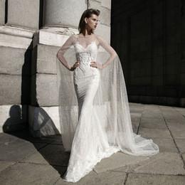 Wholesale Making Shawl Wraps - 2016 berta Bridal Wraps Court Train Sparkle Bling Luxury Sequins Tulle Bateau Applique Hi Lo Wedding Wraps Bridal cape 6609