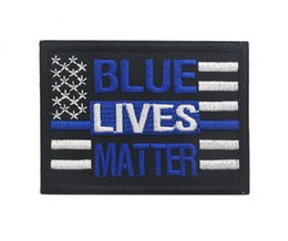 Wholesale Military Biker Patches - Custom Blue Lives Matter patch US flag tactical patch army morale military badge hook biker outdoor for bag vest free ship