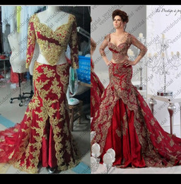 Wholesale Red Carpet Wedding Dresses - Fabulous Arabic Kaftan Appliques Lace Two Pieces Evening Dresses By Abaya Dubai Long Sexy V Neck Mermaid Wine Red Luxury Wedding Dresses